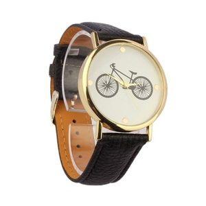 Women Casual Unisex Bike Watch Black Gold Tone